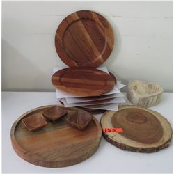 Misc. Wooden Plates, Small Wooden Bowls, Cheese Servers