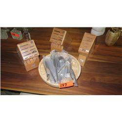 Cutlery Blocks, Wood Platter & Flatware