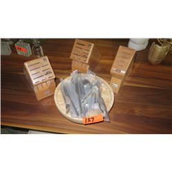 Cutlery Blocks, Wood Platter & Flatware