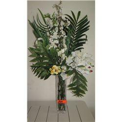 Faux Floral Arrangement in Glass Vase