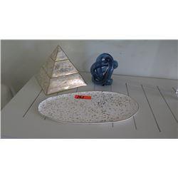 Decorative Pyramid, Decorative Plate & Blue Glass Knot