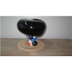 "Lacqured Black Mushroom Lamp, Approx. 14.5"" Dia."