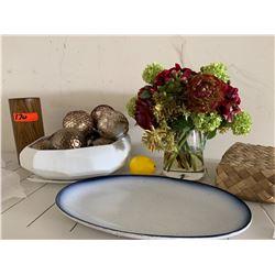 Decorative Balls, Wooden Vase, Plate, Faux Floral Arrangment in Vase, Woven Box