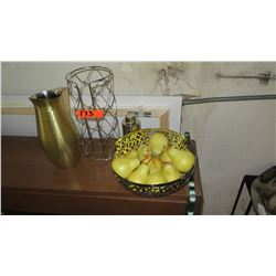 Pitcher, Paper Towel Holder & Faux Pears in Cut-Out Basket
