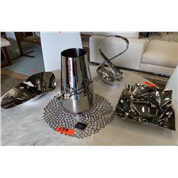 Metal Vases with Floral Ornamentation, Metal Basket, etc.