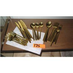 Set of Gold-Tone Flatware
