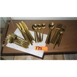 Set of Gold-Tone Flatware
