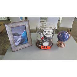 "Framed Wave (7.5""x9.5""H), Beatles Memorabilia in Glass, Small Astronomical Globe"