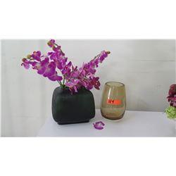 Large Green Glass Vase w/ Faux Orchids, Glass Cylinder Vase