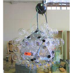 Geometric Chrome Lighting Fixture w/ Round Bulbs