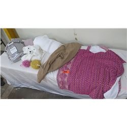Misc. Bath Items, Twin Sheet Set, Towel, Clothing (some with retail tags)