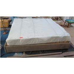 Suede King Bed Frame and King Mattress w/ Tufted Suede Wall Headboard