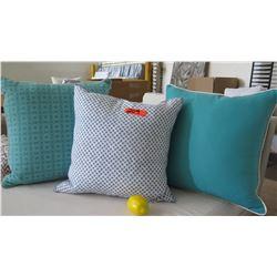 Qty 3 Blue & White Decorative Accent Pillows