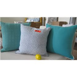 Qty 3 Blue & White Decorative Accent Pillows