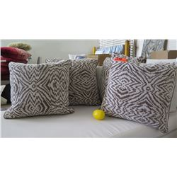 Qty 4 Brown & White Decorative Accent Pillows