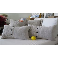 Qty 4 Khaki & White Decorative Accent Pillows (2 square/2 lumbar)