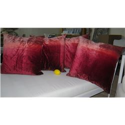 Qty 4 Dark Cranberry Ombre Decorative Accent Pillows