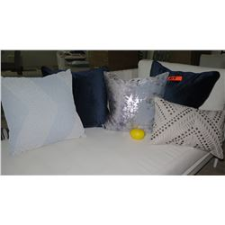 Qty 5 Misc. Blue, Gray, Beige Decorative Accent Pillows