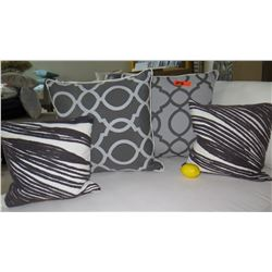 Qty 4 Drk Gray & White Decorative Accent Pillows