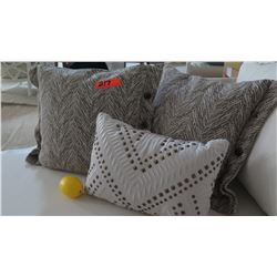 Qty 3 Khaki & Brown & White Studded Decorative Accent Pillows
