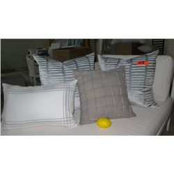 Qty 4 Gray & White Decorative Accent Pillows (1 Sferra Lumbar)