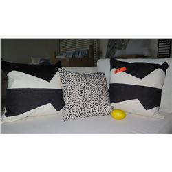 Qty 3 Black & White Decorative Accent Pillows
