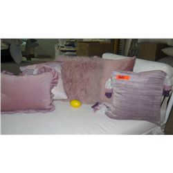 Qty 5 Misc. Pink, Lavender Decorative Accent Pillows