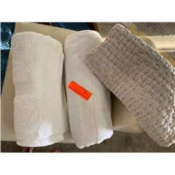 2 White Bath Towels, 1 Lt. Gray Quilted Pillowcase (was used only for staging)