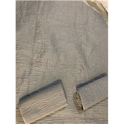Gray Quilted King Coverlet w/ 2 King Shams. By Oake (was used only for staging)