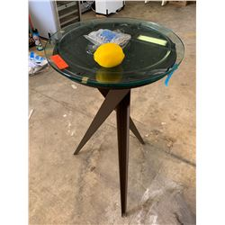 "Bar Height Glass Top Table (Removable Glass), 18.5"" Dia, 40"" H"