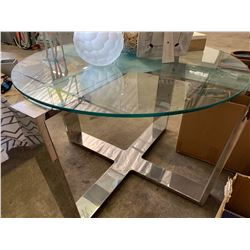 "Chrome Geometric Cross Base (Glass Not Included) 45"" Across, 28"" H"