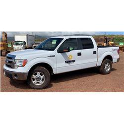 LANAI 2014 Ford F150 Truck 4X4 Quad Cab, 41,947 Miles, Lic. 739TVB, Runs