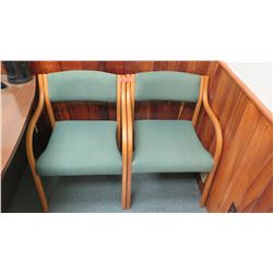 Qty 2 Upholstered Reception Chairs w/ Wooden Frame