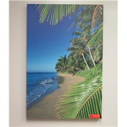 Photographic Art on Stretched Canvas: Beach w/ Palm Trees