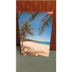 Photographic Art on Stretched Canvas: Sandy Beach w/ Palm Trees