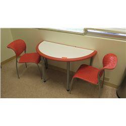 Half-Round Table w/ 2 Matching Modern Orange Chairs 47  L, 2' Dia.