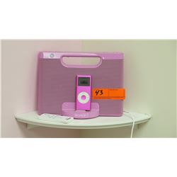 Pink iPod and Pink Sony Speaker