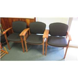 Qty 3 Uholstered Wooden Reception Chairs