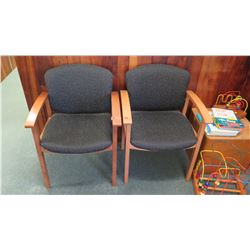 Qty 2 Uholstered Wooden Reception Chairs