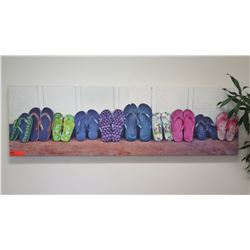 "Photographic Giclee on Stretched Canvas: Colorful Slippers 56.5"" x 17"""