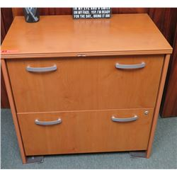 2-Drawer Wooden Cabinet (chipped on front edge)