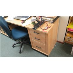 "Desk w/ Cabinet & 3 Drawers 59.5"" W x 23.5"" Depth, 29.5"" Height, Includes Office Chair"