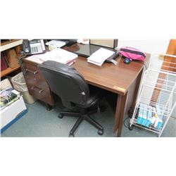"Desk w/ 2 Drawers 4' W x 30"" Depth, 29.5"" Height, Includes Office Chair"