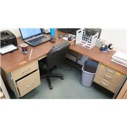 Metal Desk w/ Drawers, L-Shaped Configuration (main desk 5' W x 30  Depth, 29  Height)