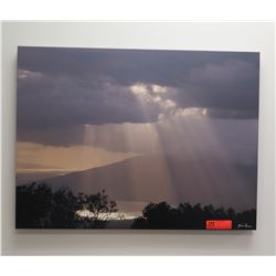 Photographic Giclee Image on Streched Canvas: Sun Rays Through Clouds, Signed, Orginal Signature