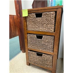 "Storage Unit w/ 3 Rattan Baskets 18"" x 16"" x 33"""