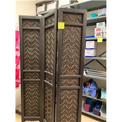 "3-Paneled Hinged Rattan Screen (Each Panel 14"" x70"")"