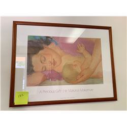"""Framed Pegge Hopper Print """"A Precious Gift - He Makana Makamae"""" w/ Original Signature 37"""" x 25.5"""""""