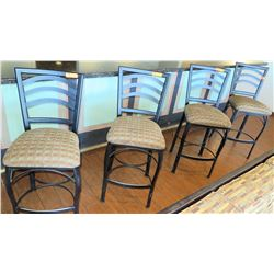 Qty 4 Bar Height Chairs w/Padded Seats