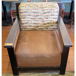Wood Frame Armchair w/ Block Cushion